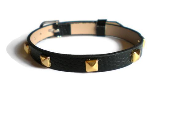 Gold Studded Leather Bracelet - 5mm Gold Tone Pyramid Studs - 8mm Black Strap - Adjustable
